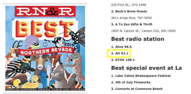 Within one year of working with Station Domination, Alt 92.1 was voted the second best radio station in Reno, NV.